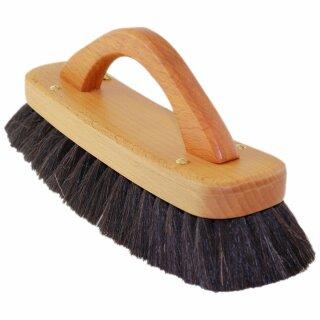 Schwarze TelMo® Ziegenhaarbürste mit Bügelgriff ca. 21cm gewachstes Buchenholz