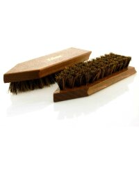 Schmutzbürste (Holz) braun lackiert, Griffkehle und Kokosfasern braun