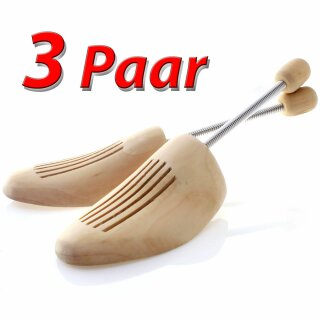3 Paar Schuhspanner Natur Holz Spiral Schuhspanner Gr. 44/45