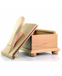 Schuhputzkasten aus Buchenholz aufziehbar, 28cm x 24cm x 20cm