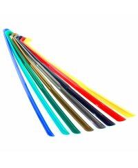 Schuhanzieher, Schuhlöffel Kunststoff mit Haken verschiedene Farben ca. 65cm Flitter-Grün