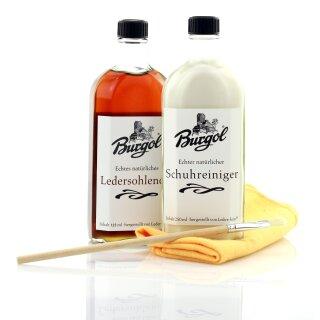 Burgol Sohlenlederöl Glasflasche 125ml + Lederreinger 250ml mit Pinsel