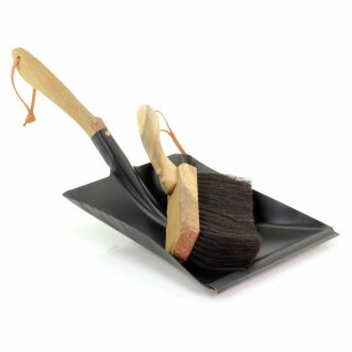 Redecker Kehrset aus Urholz (altes handbehauenes Eichenholz) Handfeger und Müllschippe