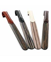 Exclusiver Holz Design Schuhanzieher mit lederbezogenen Haken Braun